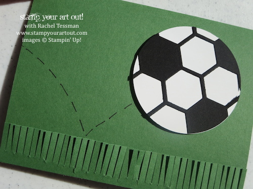 """The Hexagon Hive Thinlit, the 2-1/2"""" Circle punch and the Fringe Scissors can make a fabulous soccer card! - Stampin' Up!® - Stamp Your Art Out! www.stampyourartout.com"""