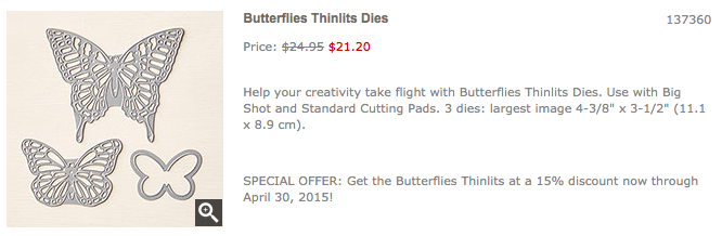 Butterfly Thinlits offer through 4/30/15… #stampyourartout #stampinup - Stampin' Up!® - Stamp Your Art Out! www.stampyourartout.com