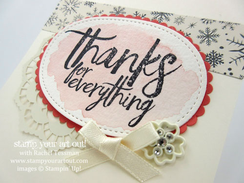 Thailand Achiever's Blog Hop December 2016: 2017 Occasions Catalog/Catalogue Sneak Peek (Card made with All Things Thanks stamp set, double-sided Lace Doilies, Falling In Love Embellishments and Very Vanilla Satin Ribbon)…#stampyourartout - Stampin' Up!® - Stamp Your Art Out! www.stampyourartout.com